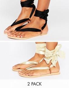 Кожаные сандалии с завязками ASOS FREAK - Мульти