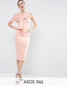 Платье миди на одно плечо с отделкой в виде банта ASOS TALL - Розовый