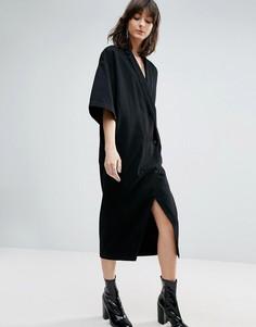 Джинсовое платье-кимоно на пуговицах ASOS WHITE - Черный