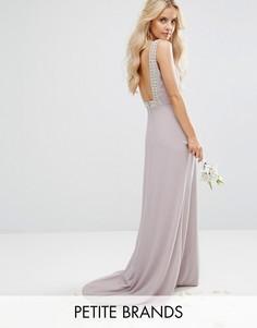 Платье макси с открытой спиной и отделкой TFNC Petite Wedding - Серый