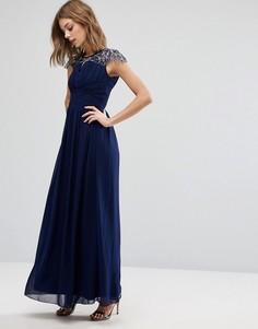 Платье макси с отделкой на кружевных рукавах Little Mistress - Темно-синий