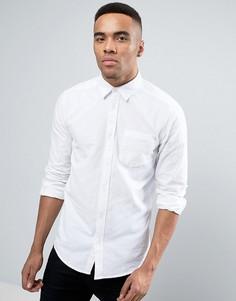 Белая саржевая рубашка классического кроя с начесом New Look - Белый