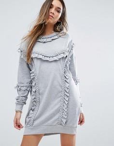 Трикотажное платье с рюшами Missguided - Серый
