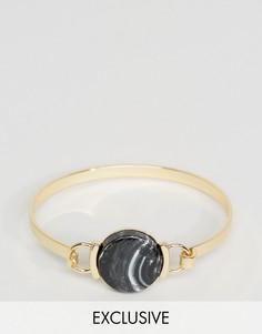 Браслет с черным камнем DesignB London - Серебряный