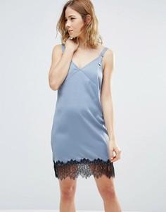 Платье с кружевом по краю First & I - Синий