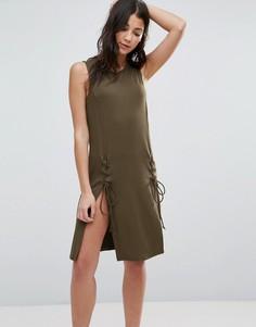 Платье со шнуровкой First & I - Зеленый