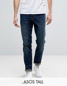 Темные эластичные джинсы слим ASOS TALL - Синий