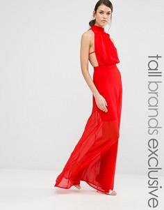 Платье макси с высокой горловиной и открытой спиной Missguided Tall - Красный