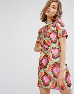 Приталенное саржевое платье со свободной юбкой и принтом сердец House Of Holland - Мульти