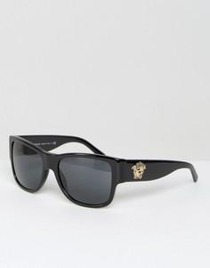Квадратные солнцезащитные очки с логотипом-медузой на дужках Versace - Черный