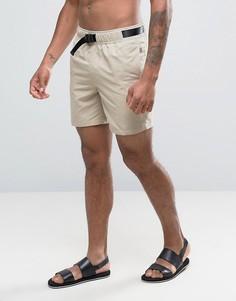 Песочные шорты для плавания средней длины ASOS - Бежевый