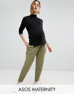 Выбеленные брюки галифе в стиле милитари для беременных ASOS Maternity - Зеленый