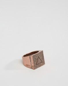 Медное кольцо с квадратной печаткой Icon Brand - Золотой