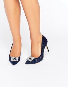 Кружевные декорированные туфли-лодочки Dune Bridal Betti - Темно-синий