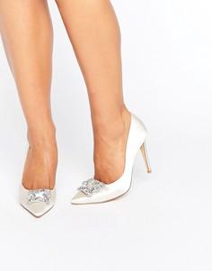 Декорированные атласные туфли-лодочки Dune Bridal Breanna - Белый