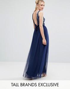 Тюлевое платье макси для выпускного с пайетками и бантом Little Mistress Tall - Темно-синий