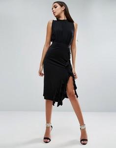 Трикотажная юбка-карандаш с рюшами ASOS - Черный