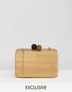 Деревянная сумка-клатч с цепочкой через плечо Reclaimed Vintage - Коричневый