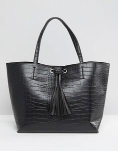 Черная сумка-тоут в стиле oversize с люверсами Glamorous - Черный