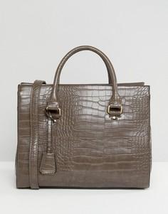 Коричневая сумка-тоут с эффектом крокодиловой кожи Glamorous - Коричневый