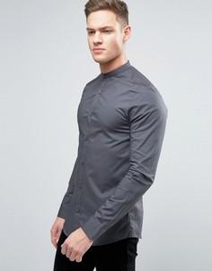 Рубашка скинни с планкой на пуговицах Only & Sons - Серый