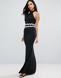 Платье-халтер макси с контрастной отделкой на талии Jessica Wright - Черный
