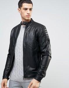 Кожаная байкерская куртка со стеганой отделкой Solid - Черный