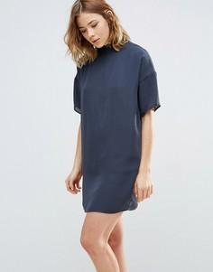 Платье с воротником First & I - Синий