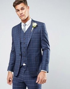 Пиджак скинни в клетку ASOS WEDDING - Синий