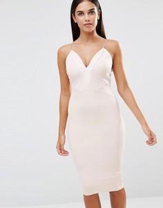 Платье миди с полиуретановыми вставками AX Paris - Розовый