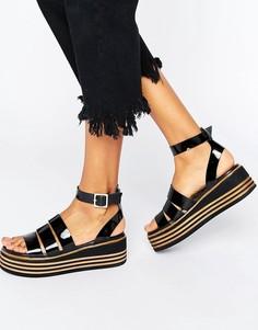 Массивные кожаные сандалии с ремешками ASOS TREASURED - Черный