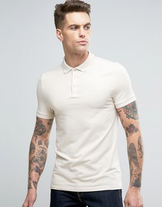 Бежевая облегающая футболка-поло из пике с воротником на пуговицах ASOS - Бежевый