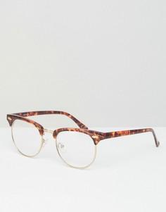 Очки в стиле ретро с черепаховой оправой и прозрачными стеклами ASOS - Коричневый