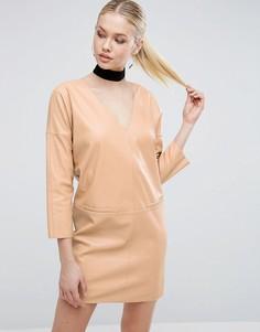 Платье из искусственной кожи ASOS - Бежевый
