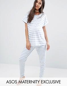 Пижамный комплект с футболкой и леггинсами в полоску ASOS Maternity - Мульти