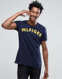 Футболка с большим логотипом Hilfiger Denim - Темно-синий