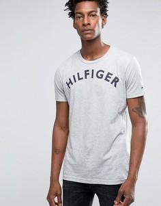 Футболка с большим логотипом Hilfiger Denim - Серый