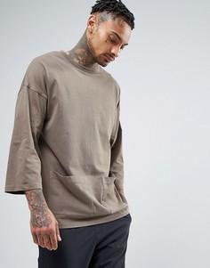 Oversize-футболка с рукавами 3/4 и карманами ASOS - Коричневый