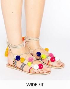 Сандалии с помпонами и завязками вокруг ноги ASOS FRESH - Мульти