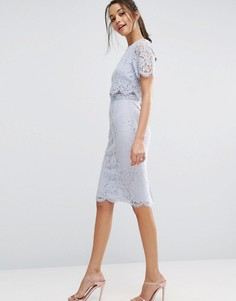 Кружевное платье-футляр миди с укороченным топом ASOS - Синий