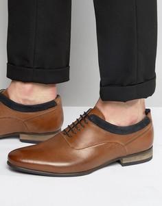 Коричневые кожаные оксфордские туфли с темно-синей замшевой отделкой ASOS - Рыжий