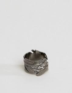 Кольцо в виде пера цвета пушечной бронзы Icon Brand - Серебряный