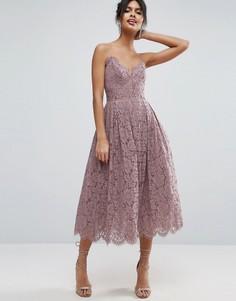 Кружевное платье миди для выпускного ASOS - Фиолетовый