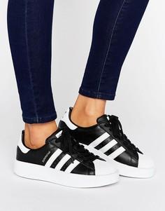 Черно-белые кроссовки с двойной подошвой adidas Originals Superstar - Черный
