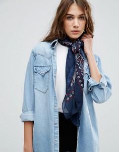 Темно-синий квадратный шарф с бандановым принтом ASOS - Синий