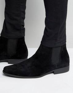Черные ботинки челси из искусственной замши ASOS - Черный