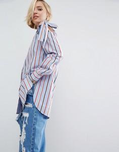 Хлопковая рубашка в полоску с завязками на плечах ASOS - Мульти