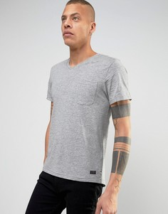 Футболка с V-образным вырезом и карманом Produkt - Серый