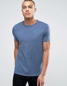 Синяя меланжевая футболка с круглым вырезом ASOS - Синий