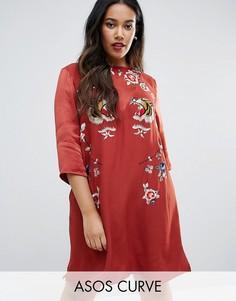 Цельнокройное платье с вышивкой ASOS CURVE Premium - Оранжевый